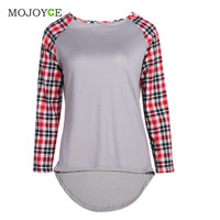 Fashion Casual Round Neck T Shirt Women Tops Plaids Check Blusa Long Sleeve T Shirt Plus Size  SN9