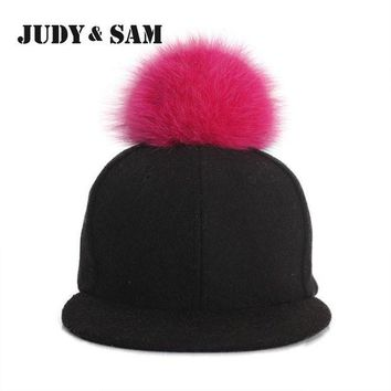 DCCKU62 Amazing Winter Genuine Fluffy Fox Fur Pompon Baseball Hats for Boys and Girls Fall Warm Fur Ball Cap Snapback