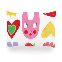 """Jane Smith """"Summer Repeat"""" White Red Oblong Pillow"""