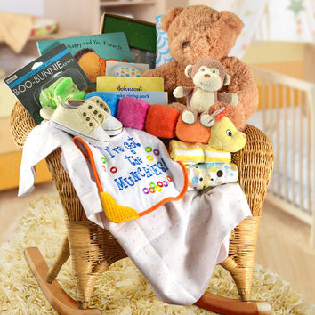 Wicker Baby Rocker Gift Basket