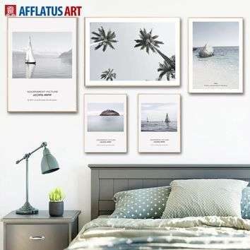 Sea Beach Palm Tree Sailboat Landscape Wall Art Canvas Painting Nordic Posters And Prints Wall Pictures For Living Room Decor