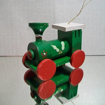 Vintage Green Train Christmas Ornament Wooden Retro Festive Holiday Home Decor Wood Locomotive Engine