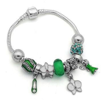 cd115f4f3 Fairy Tale Green Murano Glass Bead Charms Bracelets Bangles with