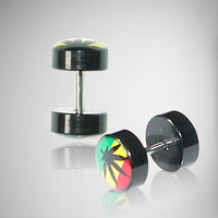 Rasta Leaf Fake Plug Set