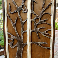 Handmade Large Wood Cabinet - Cabinet With Carved Oak Tree Doors