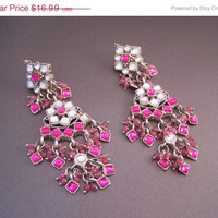 5 DAYS to SAVE Long Pink Bollywood Drop Earrings Tribal