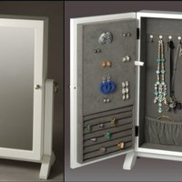 White Jewelry Box Cabinet Optional Wall Mount Jewelry Armoire