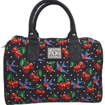 Liquorbrand Skull Cherry Cherry Skulls Tattoo Swallows Small Satchel Purse Crossbody bag