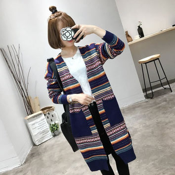Petite Loose Extra Long Tribal Striped Double Pockets Warm Knit Winter Cardigan Sweater