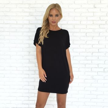 Simply Crossed Jersey Tunic in Black