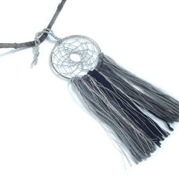 Silver Dream Catcher Silver Dreamcatcher Silver Wall Hanging Small Dream Catcher Yarn Wall Hanging Boho Wall Decor Nursery Crib Mobile Gray