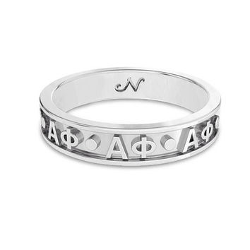 Alpha Phi Silver Original Signature Letter Ring, available in any Sorority