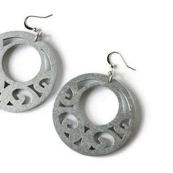 Boho Earrings, Wood Earrings, Silver Tone.