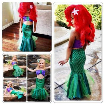 US Baby Girls Princess Ariel Dress The Little Mermaid Princess Cosplay Costume