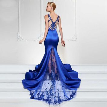 Elegant Satin and Lace Sleeveless Style Mermaid Gown