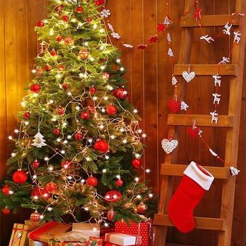 RED CHRISTMAS TREE LIGHTS WOODEN LADDER PRESENTS VINYL BACKDROP - 3X4 - LCBD6358 - LAST CALL