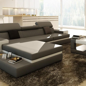 Loft Grey and White Leather Sectional Sofa w/Coffee Table