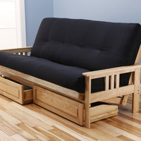 Woodbury Full Size Futon Sofa and Drawer Set, Natural Finish Hardwood Frame And Soft Suede Innerspring Mattress, Black