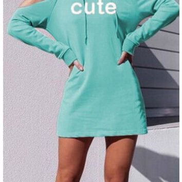 Blue Letter Cut Out Drawstring Hooded Casual Pullover Sweatshirt