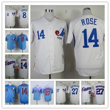 Men's Montreal Expos Jersey #27 Vladimir Guerrero #8 Gary Carter 4 Delino Deshi 14 Pete Rose 1982 2000 throwback Jerseys Baseball Athletic
