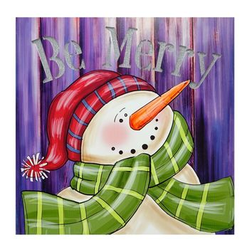 """LED Lighted """"Be Merry"""" Smiling Snowman Christmas Canvas Wall Art 11.75"""" x 11.75"""""""