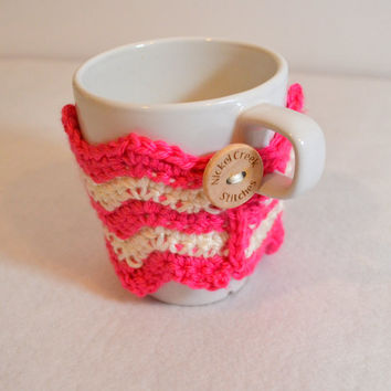 Pink Reusable cup sleeve, Crochet Coffee Sleeve, Chevron Coffee Cozy, Choose Your Color, Ready to Ship, Eco-friendly mug wrap,