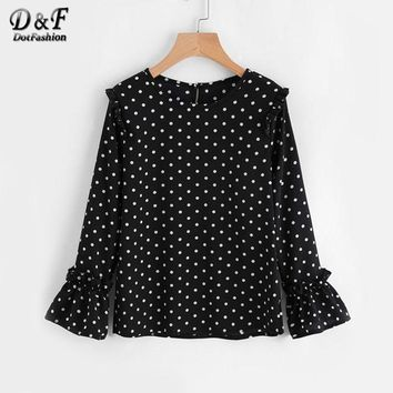 Frill Trim Spot Tunic Blouse Autumn Black Long Sleeve Round Neck Ruffle Blouse Polka Dot Woman Blouse