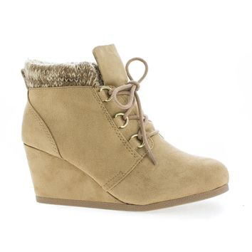 Poppet Natural Gunmetal By Soda, Round Toe Lace Up Knitted Ankle Collar Wedge Booties