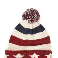 FOREVER 21 Stars & Stripes Pom Beanie Cream/Red One