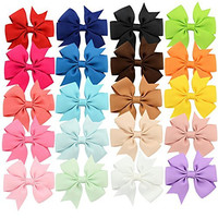 YOY Fashion Headbands Grosgrain Ribbon Pinwheel Boutique Hair Bows Alligator Clips for Baby Girls Kids Teens Toddlers Children Pack of 20