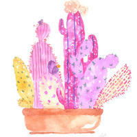 "the ""GENEVIEVE"" - pink cactus watercolor poster print"