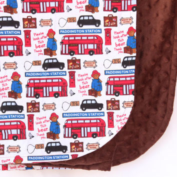Paddington Bear Blanket, London Red Bus, Brown Soft and Comfy Minky Baby, Toddler Blanket, Bed Time, Nap Time, Play Time, Cuddle Time