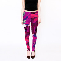 Printed Leggings, Yoga leggings, Digital Print Leggings, Fuschia Leggings, Abstract Leggings