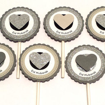 Grey Silver Heart Cupcake Toppers, Eid Mubarak Party Supplies, Rustic Glam, Shabby Chic Wedding Decor, Eid decorations, Set of 6