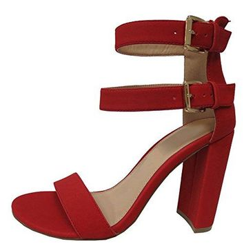 Cambridge Select Womens Open Toe Single Band Buckled Double Ankle Strap Chunky Block Heel Sandal