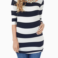 Black White Wide Striped 3/4 Sleeve Maternity Shirt