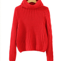 Red High Neck Knit Sweater