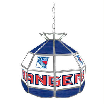 NHL New York Rangers Stained Glass Tiffany Lamp - 16 inch di