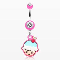 Kawaii Cherry Cupcake Belly Button Ring