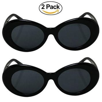 2 Pack Bold Retro Oval Mod Thick Frame Sunglasses Clout Goggles with Round Lens