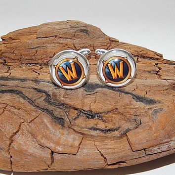 World of Warcraft logo cufflinks, World of Warcraft symbol, WOW emblem, WOW video game, WOW patch,World of Warcraft Gamer cufflink Christmas