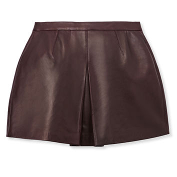 Vince Inverted Front Pleat Leather Skirt - Burgundy Leather Skirt