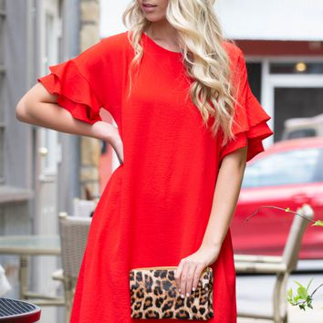 Tiered Flutter Sleeves Pocket Dress | Red