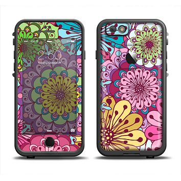 The Colorful Vector Flower Collage Apple iPhone 6 LifeProof Fre Case Skin Set