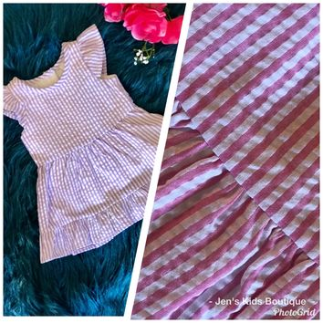 Spring Loves Seersucker Lavender Stripped Dress