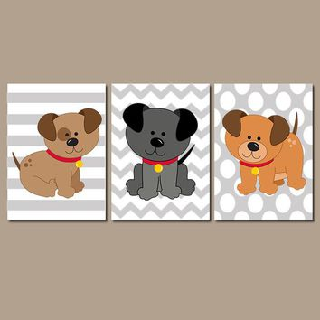 Dogs Wall Art, CANVAS or Prints Girl Boy Nursery Child DOG Puppy Puppies Theme Chevron Pattern Set of 3 Baby Bedroom Crib Wall Decor