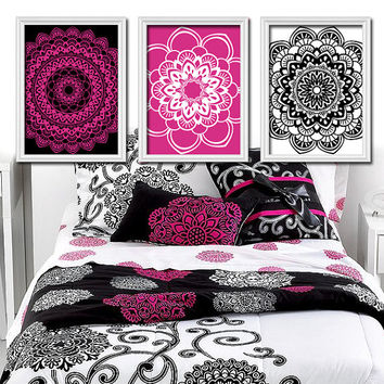 Hot Pink Black Flower Radial Sun Burst Doilies Tribal Artwork Set of 3 Trio Prints Wall Decor Abstract Art Picture Bathroom Bedroom
