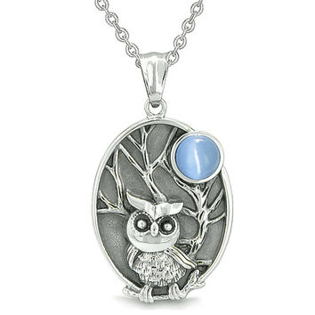 Amulet Owl and Wild Woods Magic Moon Charm Aqua Blue Cats Eye Crystal Pendant 22 Inch Necklace