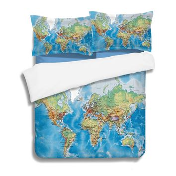 3D World Map Printed Bedclothes Microfiber Bed Linen set Single Double Adult's Bed Bed and Bedding Blue US Queen Duvet Cover Set