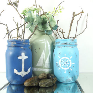Distressed, Hand Painted Mason Jars | Set of Three (3), Nautical, Beach Themed Mason Jars -- Rustic - Style, Home Decor
